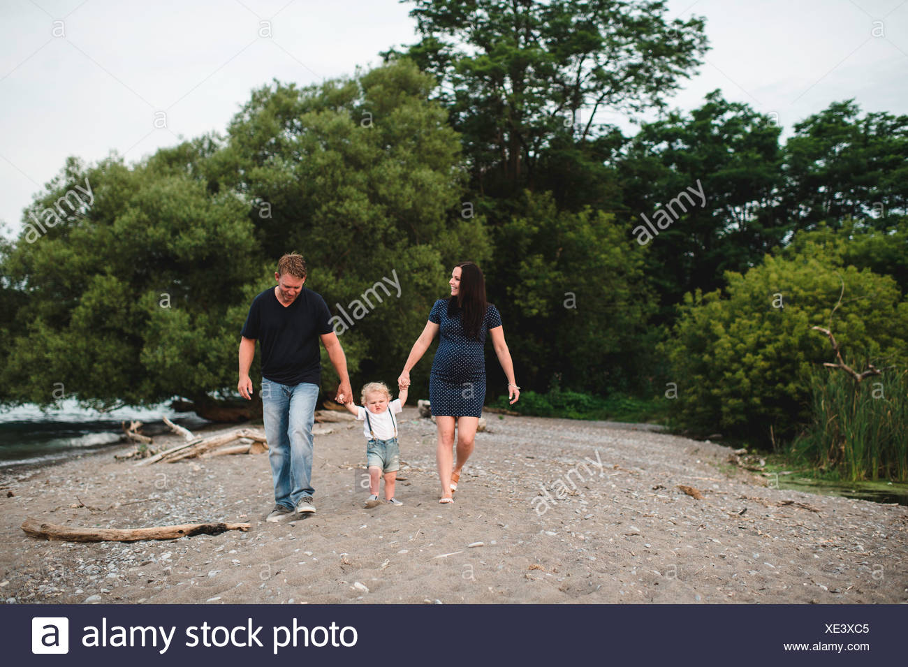 Pregnant couple strolling on beach with male toddler son, Lake Ontario, Canada - Stock Image