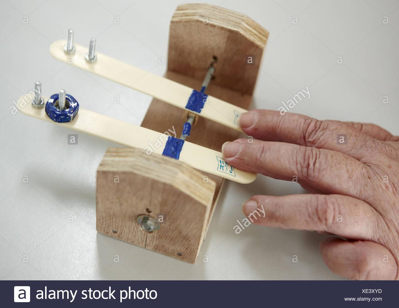 Occupational therapy, seesaw: proprioception exercise, stroke. Hospital Universitario de Gran Canaria Doctor Negrin, Las Palmas - Stock Image