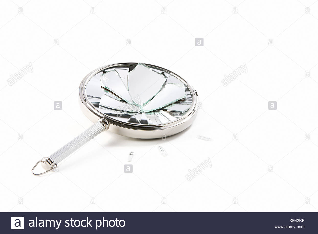Shattered hand mirror - Stock Image