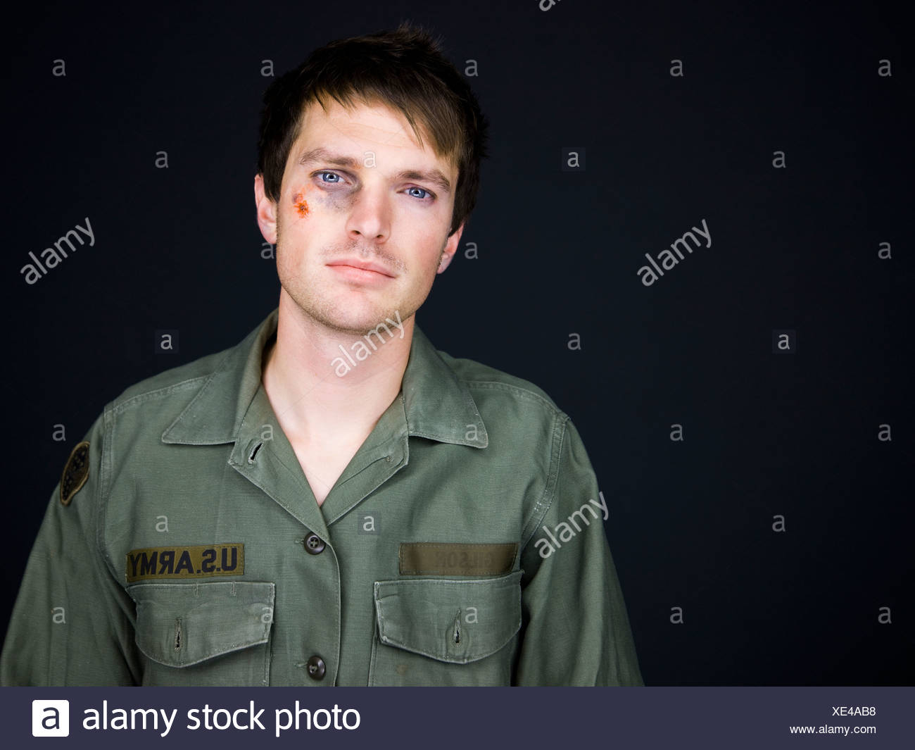soldier with a black eye - Stock Image