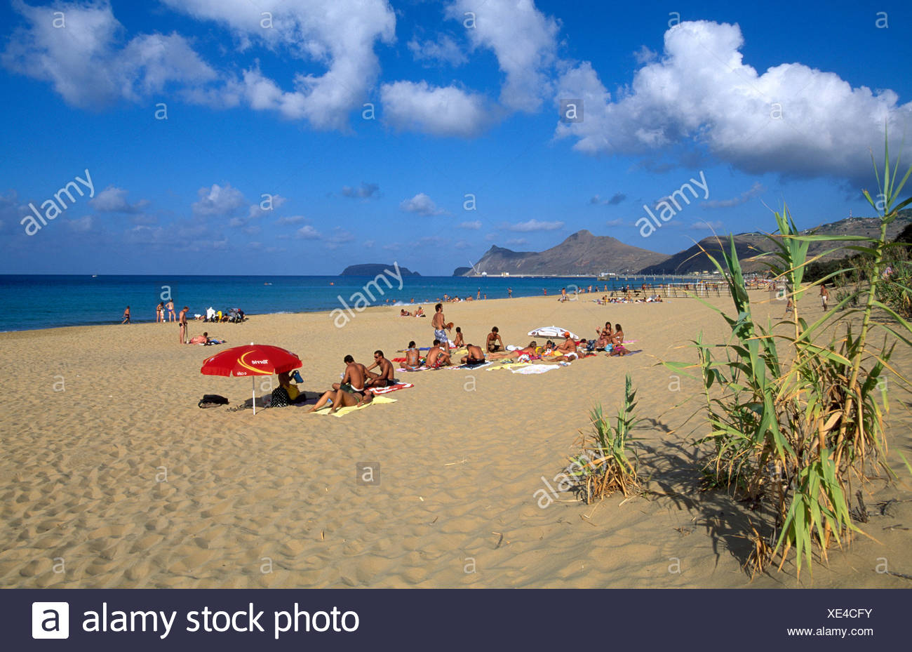 Sandy beach on Porto Santo Island, Madeira, Portugal, Europe - Stock Image