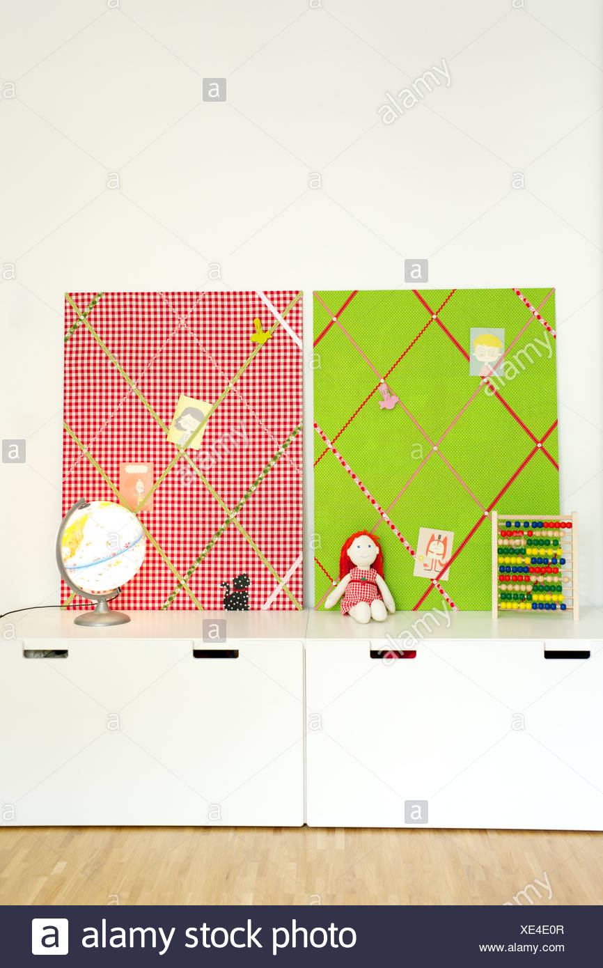 Homemade memo board from multi colored fabric, Munich, Bavaria, Germany - Stock Image