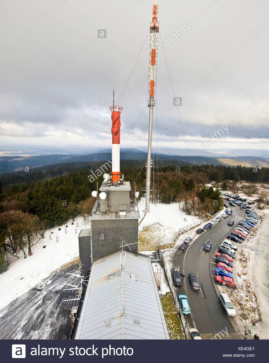 HR radio station's radio masts on Mt  Feldberg with a view