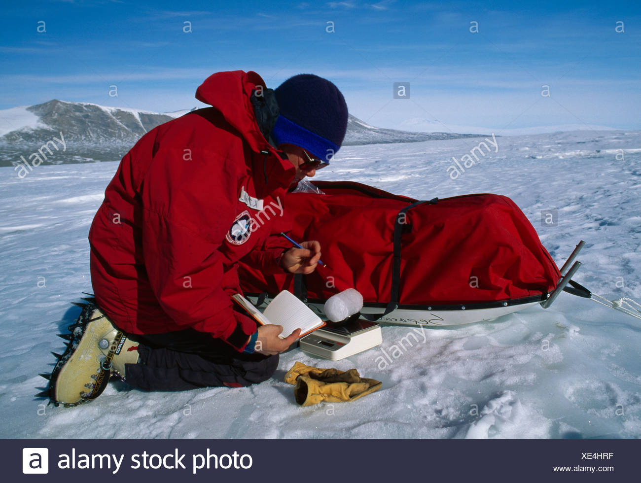 ICE CORE WEIGHING - Stock Image
