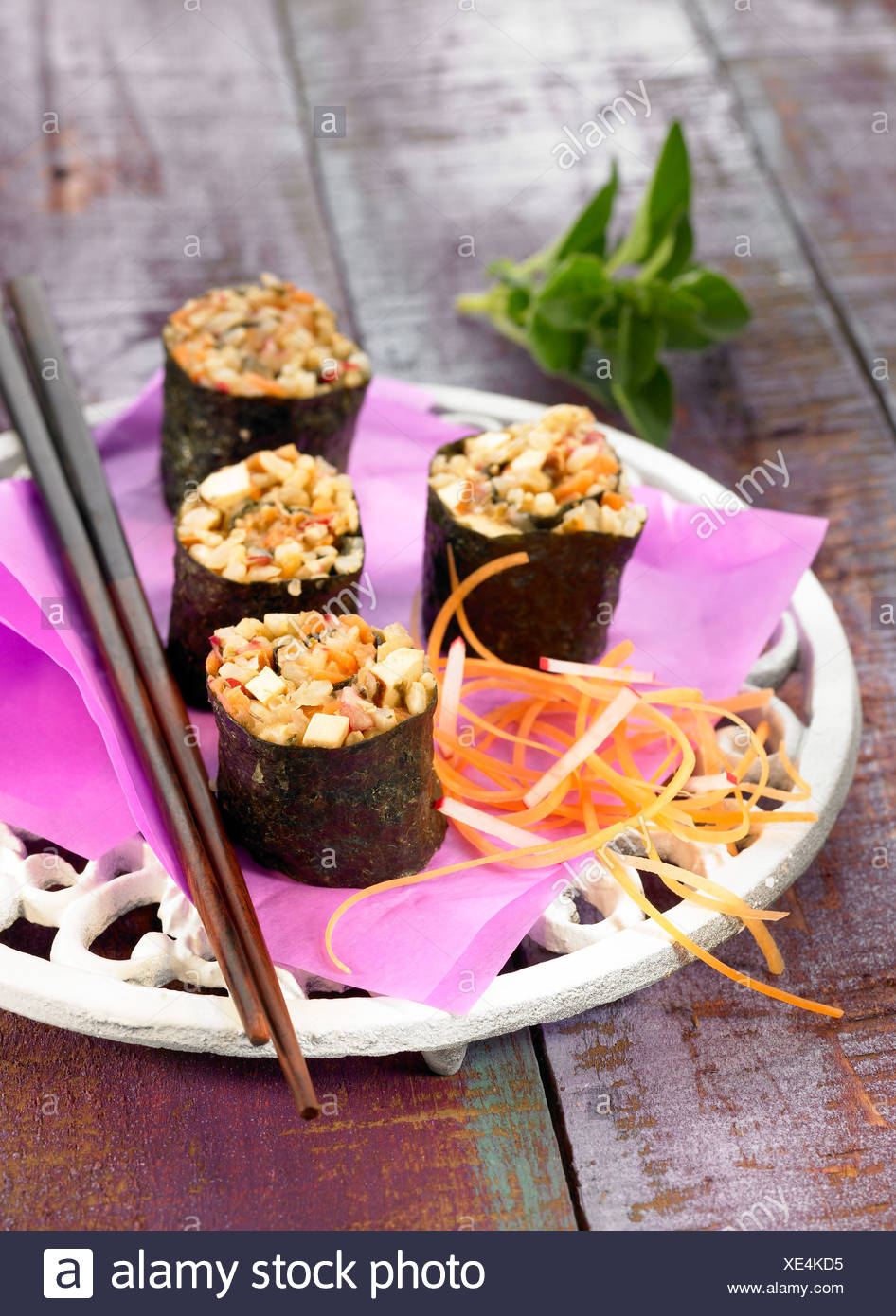 Wholemeal rice and smoked tofu Nori rolls - Stock Image