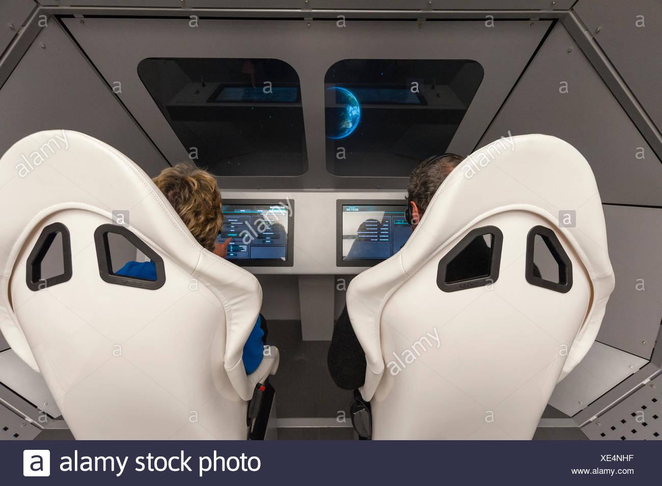 A space flight simulator at Spaceship Aurora, at the Andoya Rocket Range. - Stock Image