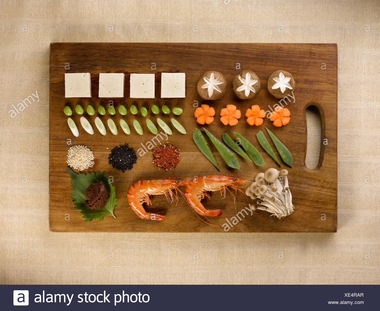 Tray of neatly organized food - Stock Image