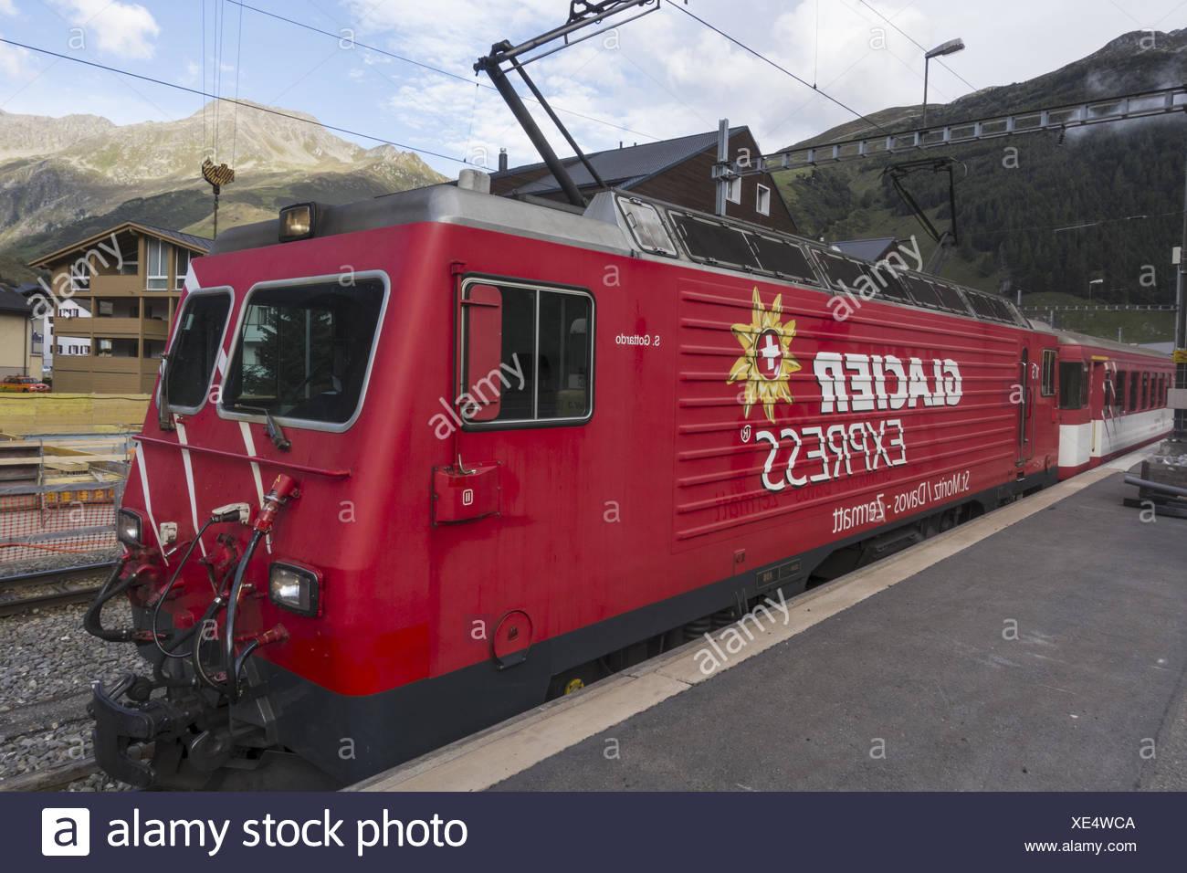 Glacier Express, St. Moritz, Davos, Zermatt, Switzerland, Uri, Andermatt - Stock Image