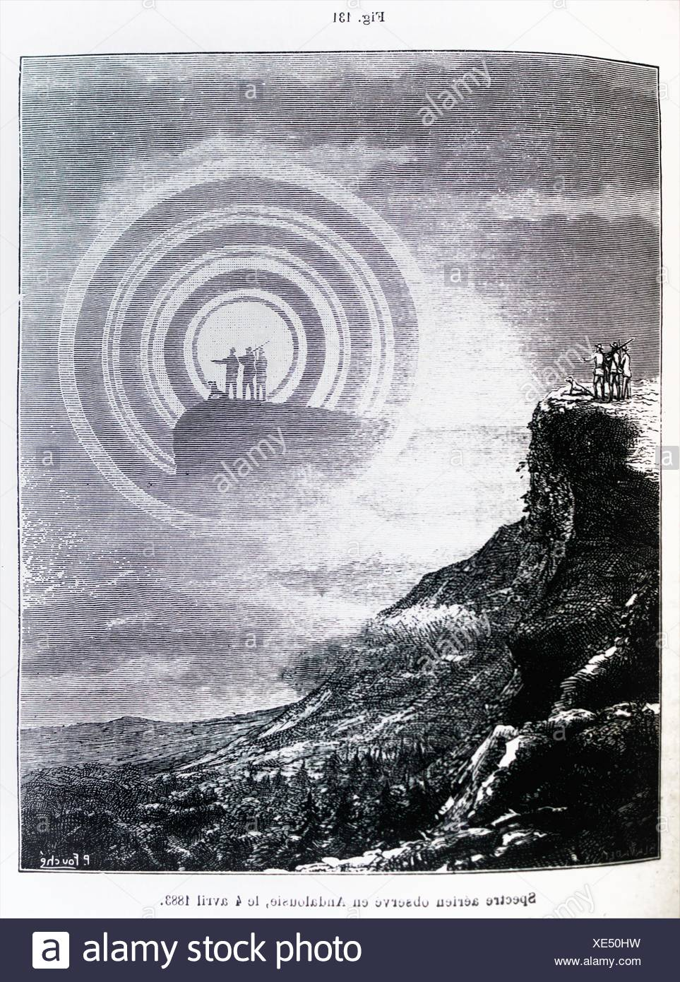 ´Spectre aérien observé en Andalousie, le 4 avril 1883 ´, ´L´Astronomie´ journal by Camille Flammarion, 1883 - Stock Image