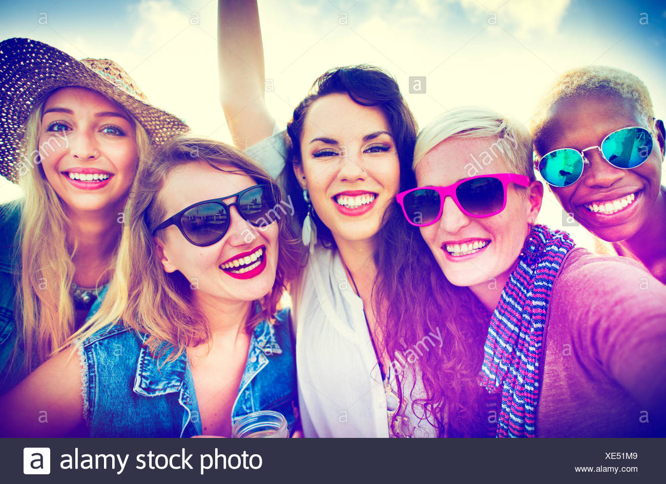 Girls Friendship Smiling Summer Vacations Together Concept - Stock Image