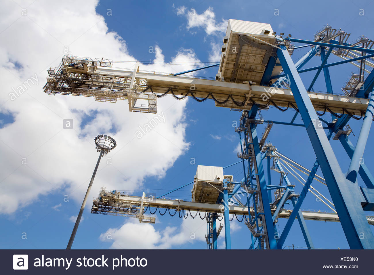 Limassol, Cyprus, Dockside cranes used for unloading container ships. - Stock Image