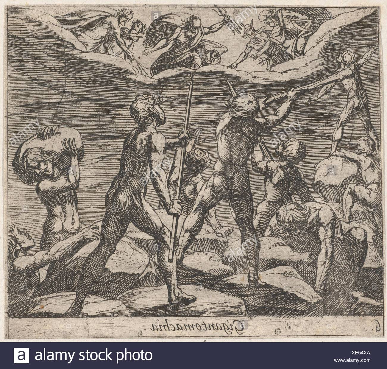 Plate 6: The Giants Attempting to Storm Olympus (Gigantomachia), from Ovid's 'Metamorphoses'. Artist: Antonio Tempesta (Italian, Florence 1555-1630 - Stock Image