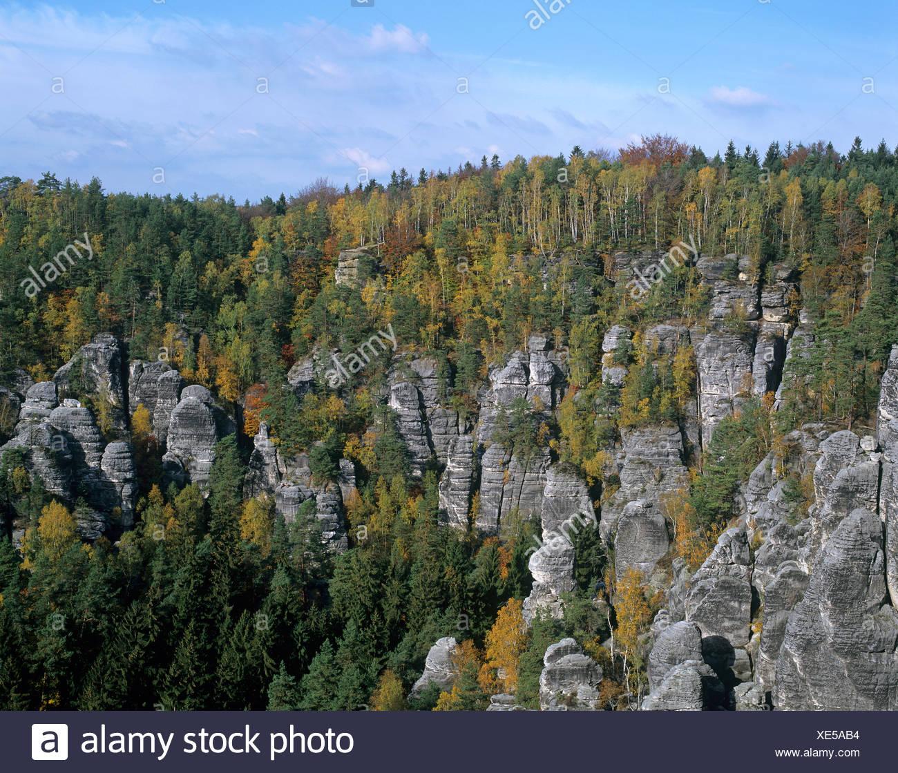 Elbe Sandstone Mountains, Elbsandsteingebirge, Saxon Switzerland National Park, Saxony, Germany, Europe - Stock Image