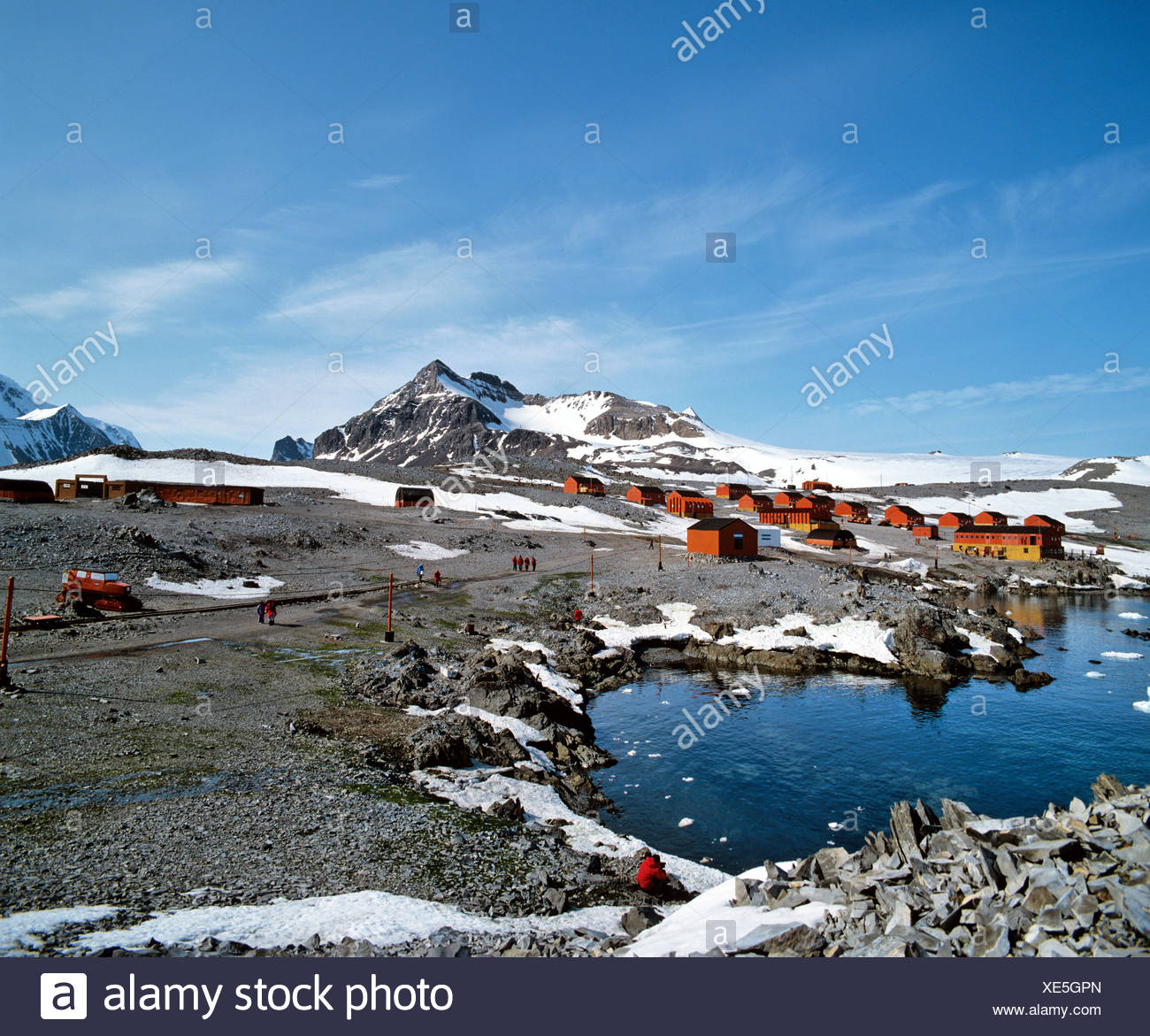 Weddell Sea, Hope Bay, small bay on the north end of the Antarctic peninsula, Argentinian research centre Esperanza, Antarctic - Stock Image