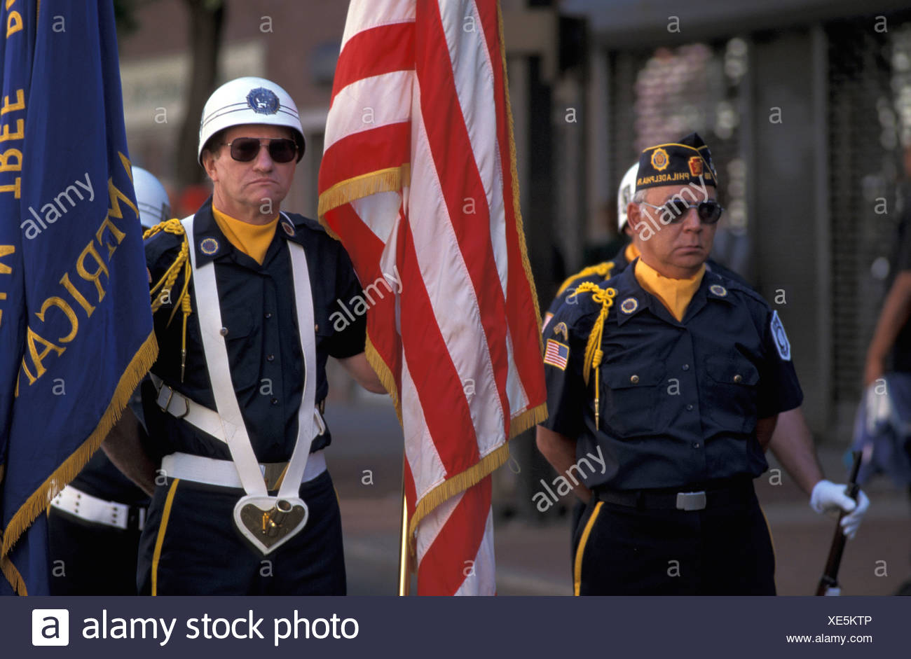 veteran Memorial Day parade relocation move military patriotism uniforms former soldiers war Downtown Phila - Stock Image