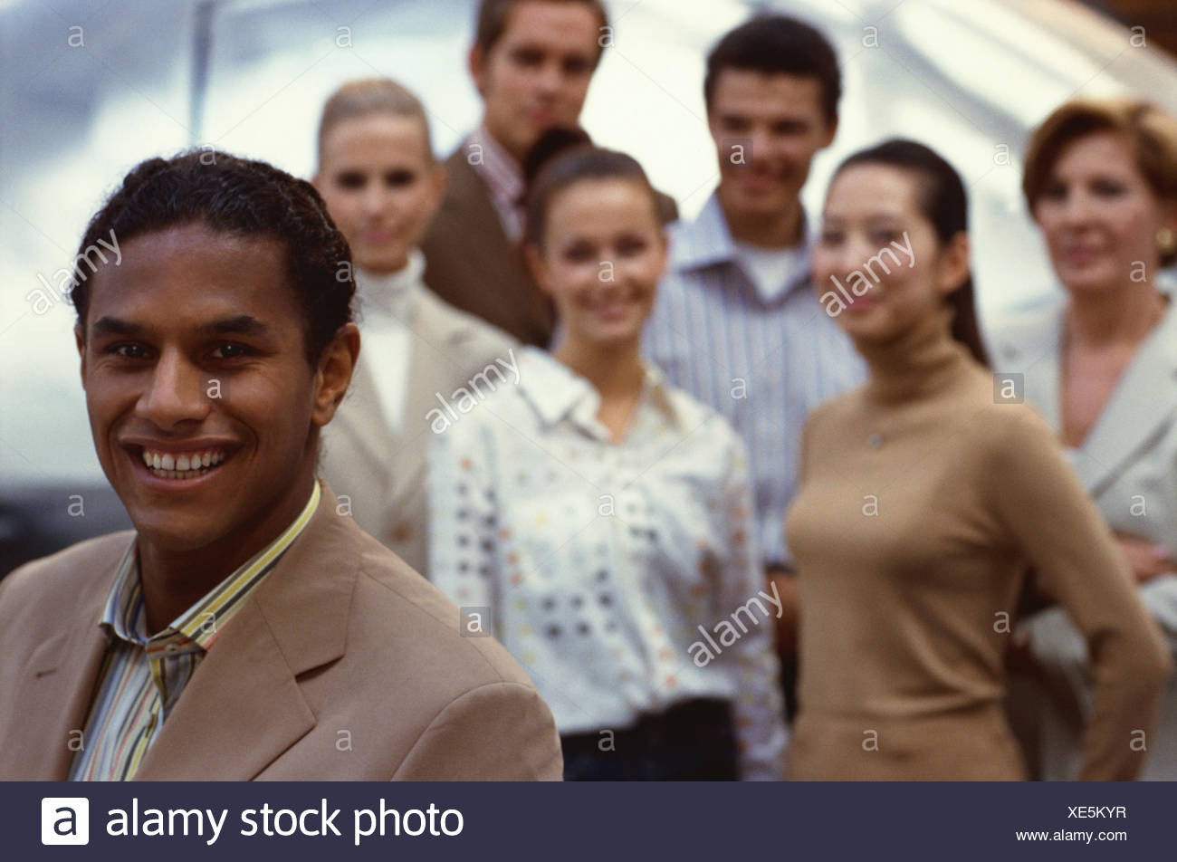 Businessman, in Indian, background group, employee, business, office, manager, entrepreneur, team leader, manager, head department, team conductor, skilled worker, served, computer specialist, computer expert, IT expert, head department, Indian, Greencard - Stock Image