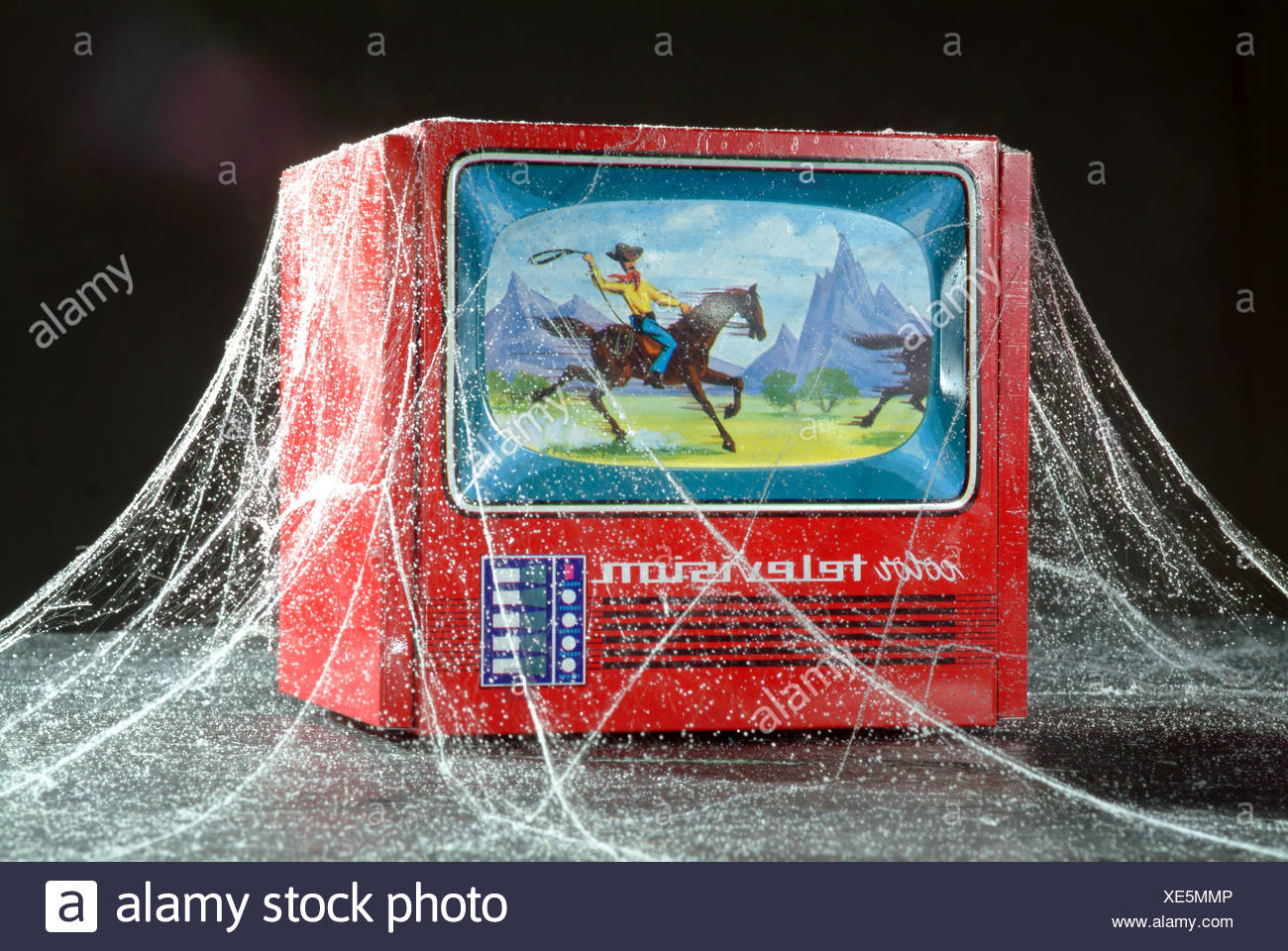 Model of a color television with cobwebs Stock Photo - Alamy