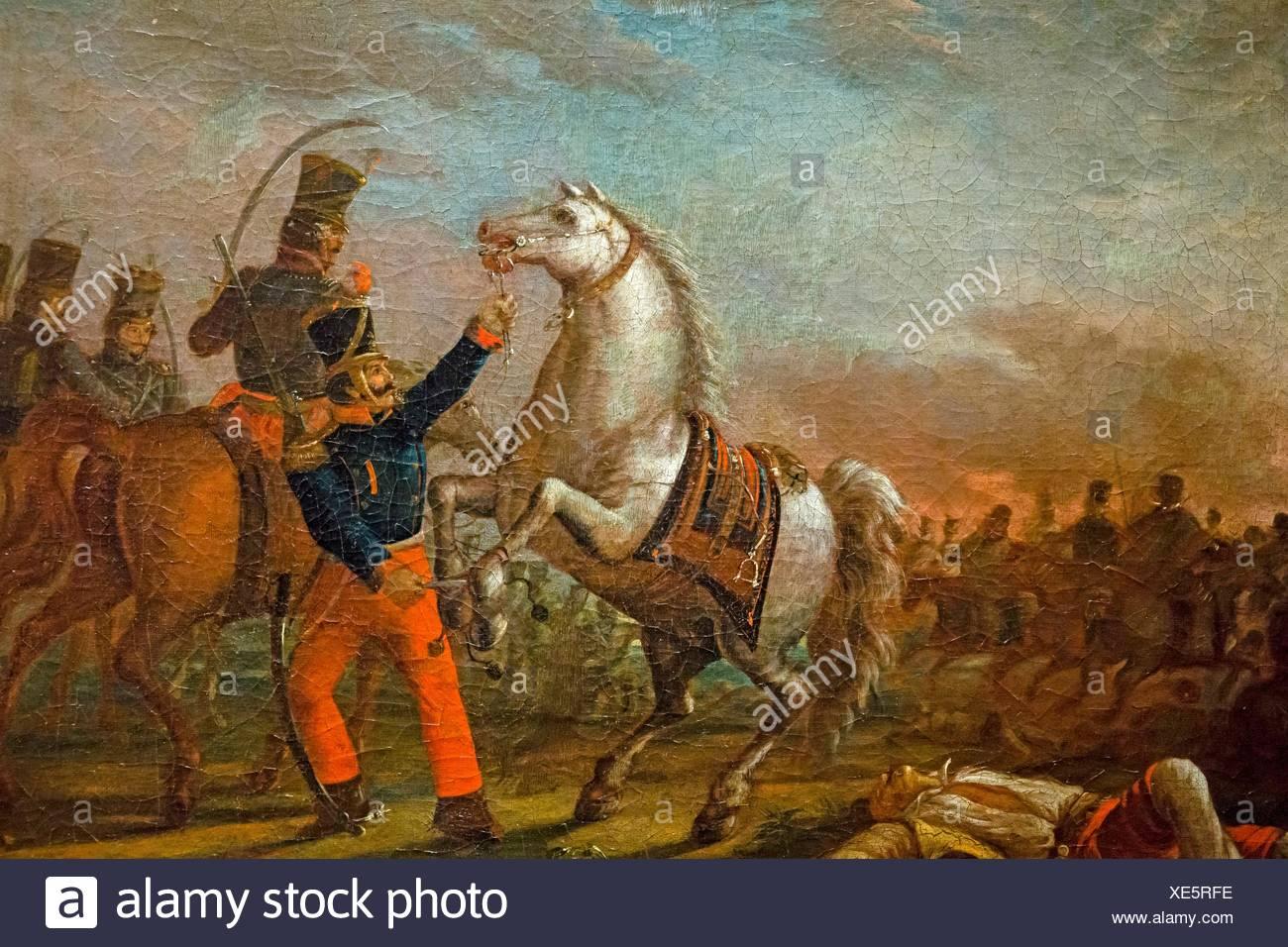 Carlos Morel, Carga de caballeria (Federal army cavalry charge), 1829, oil on canvas, Museo Nacional de Bellas Artes (MNBA), Buenos Aires, Argentina - Stock Image