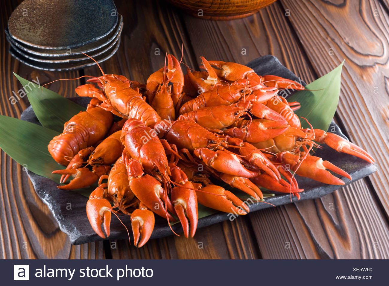 Boiled Signal Crayfish - Stock Image