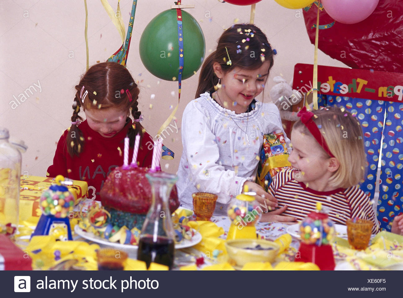 Childrens birthday party girl congratulate birthday boy