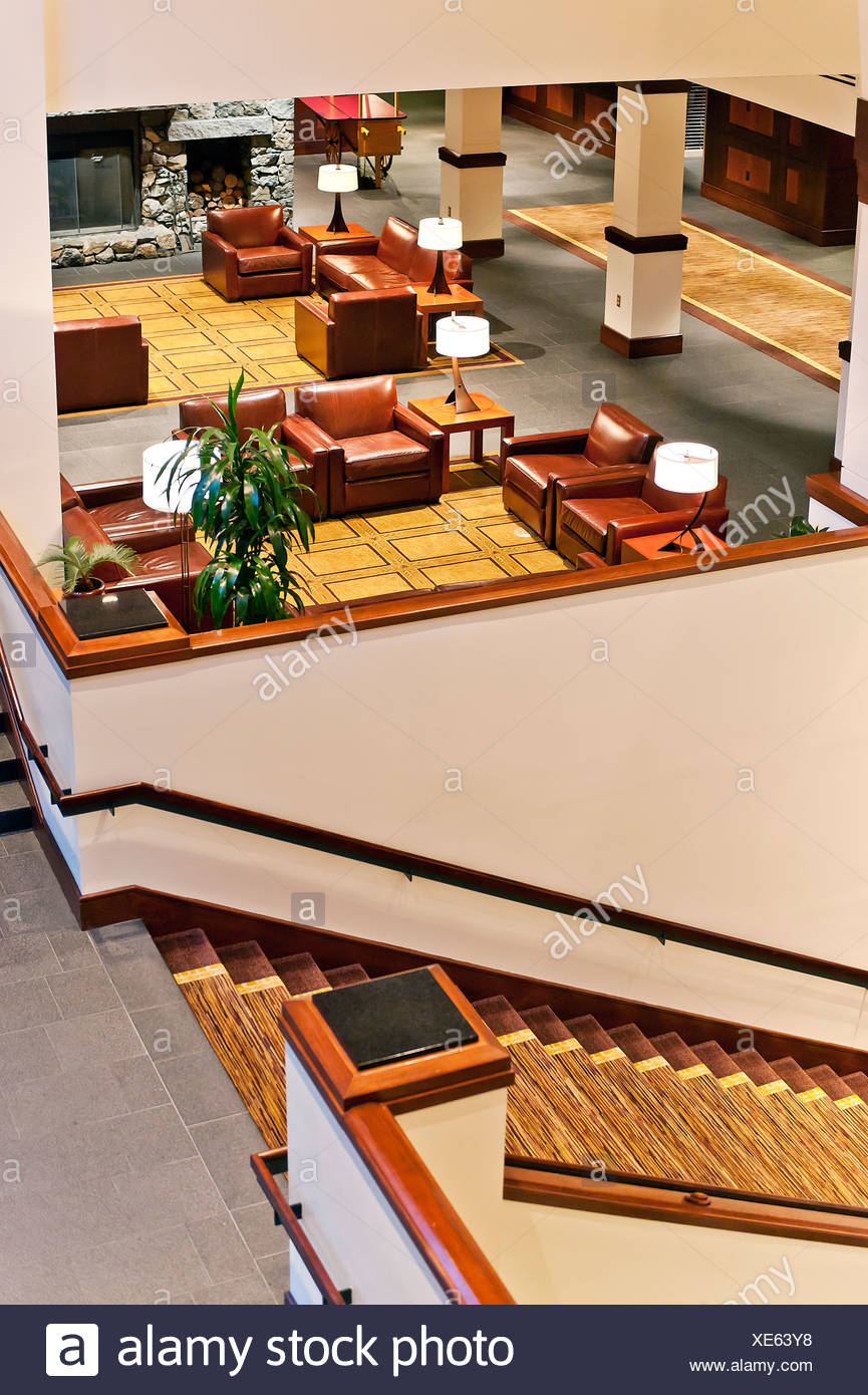 Upscale hotel lobby. - Stock Image