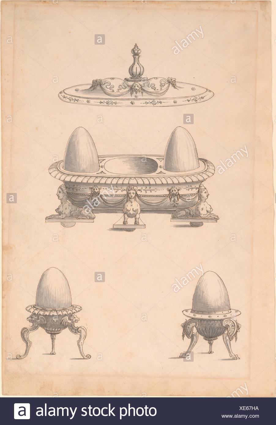 Design for Parade Egg Cups and Combined Egg Cup/Salt Cellar with Lid. Artist: Erasmus Hornick (Netherlandish, Antwerp ca. 1520-1583 Prague); Date: - Stock Image