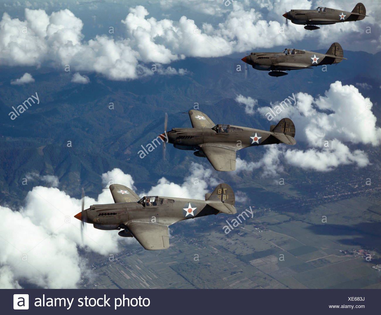 P-40 Pursuits of the U.S. Army Air Corps patrol over Trinidad. - Stock Image