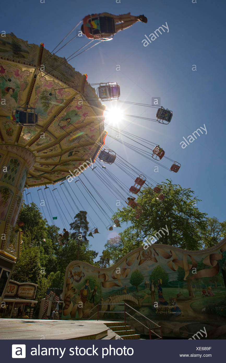 Chain carousel, traditional Waeldchestag, Frankfurt, Hesse, Germany, Europe Stock Photo