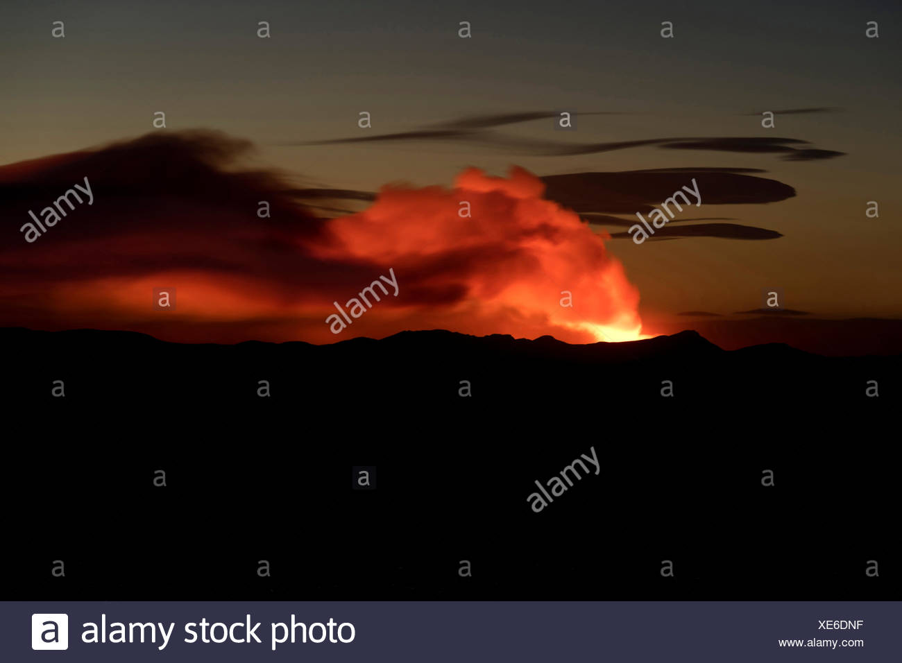 Ash and gas cloud of the Holuhraun fissure eruption, near the volcano Bárðarbunga, highlands, Northeast Iceland, Iceland - Stock Image