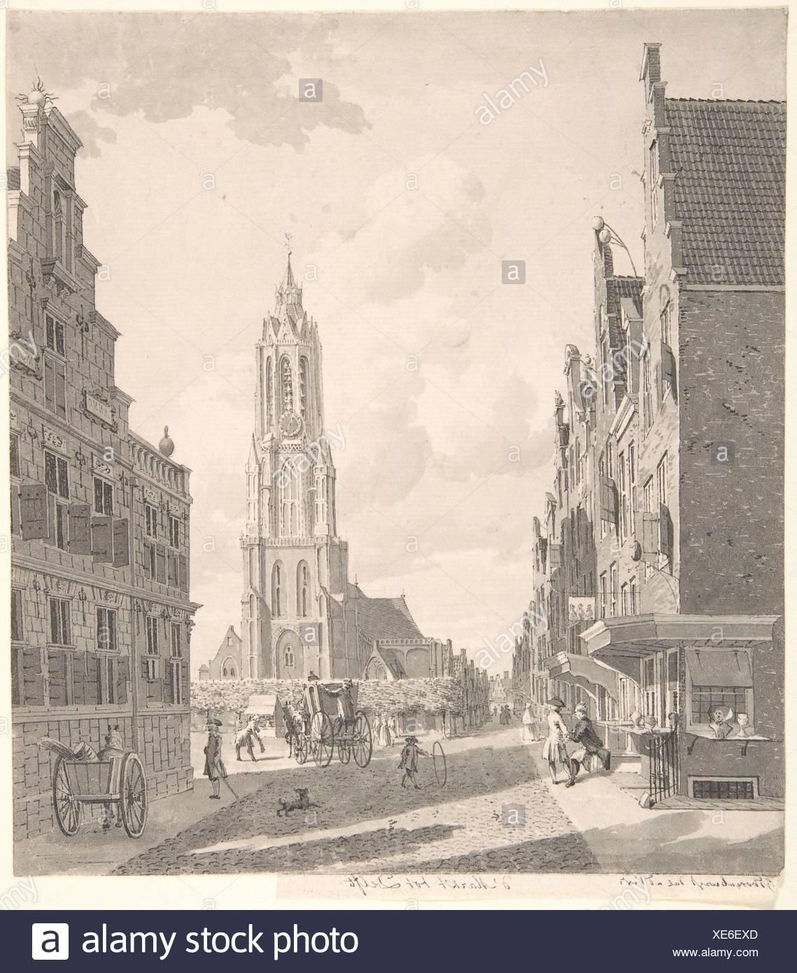 Marketplace of Delft with the Nieuwekerk. Artist: Gerrit Toorenburgh (Dutch, Amsterdam 1732-1785 Nijerk); Date: 18th century; Medium: Pen and gray Stock Photo