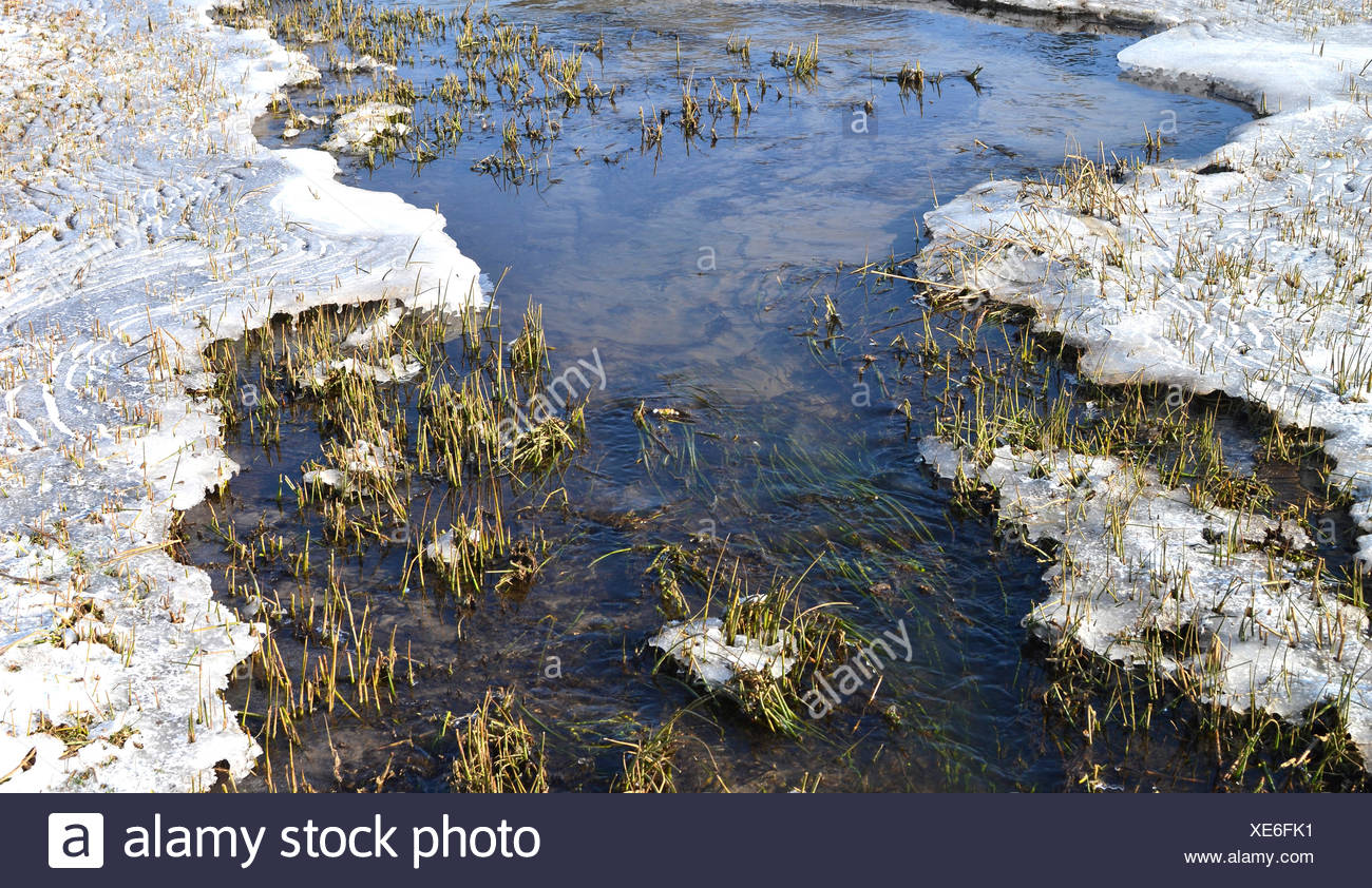 Froze runnel with ice and snow. - Stock Image