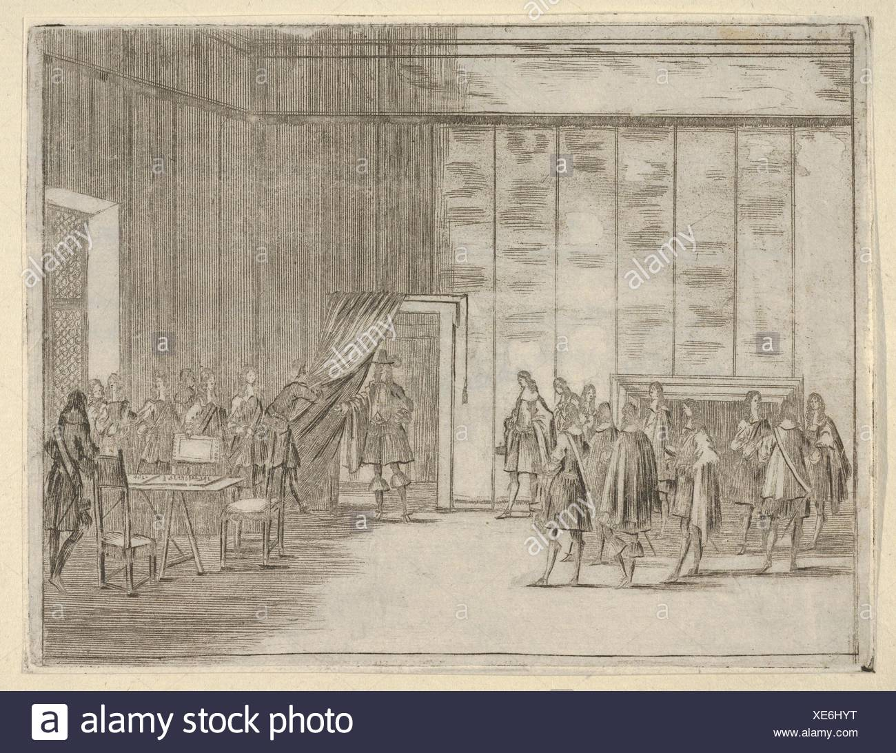 Francesco I d'Este, with his Gentle Manner, is Loved by All of the Noblemen in his Court, from L'Idea di un Principe ed Eroe Cristiano in Francesco I - Stock Image