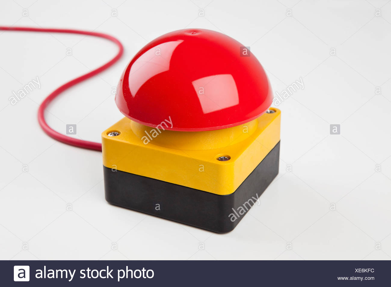 A big red buzzer - Stock Image