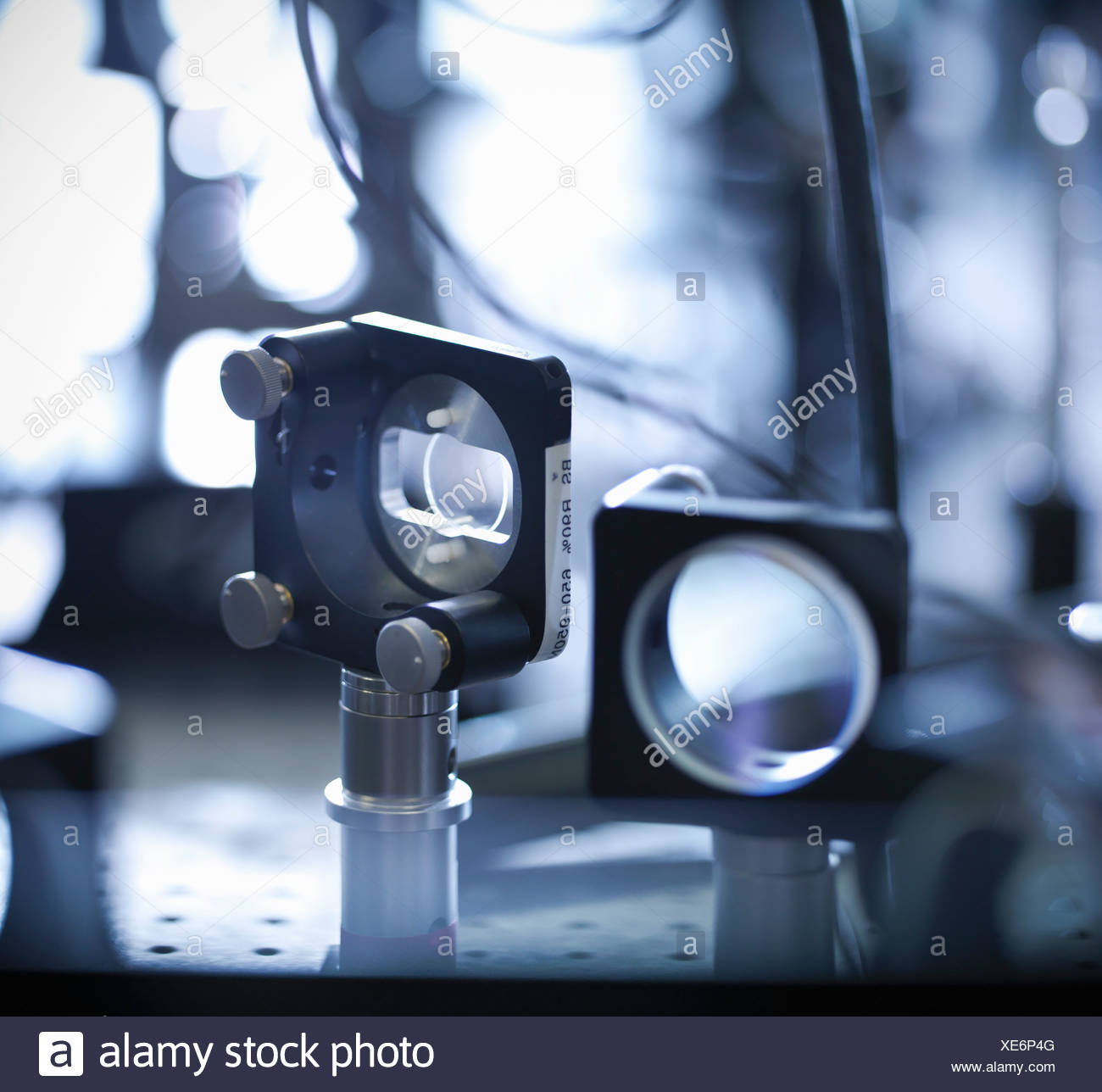 Close up of laser mirrors in lab - Stock Image