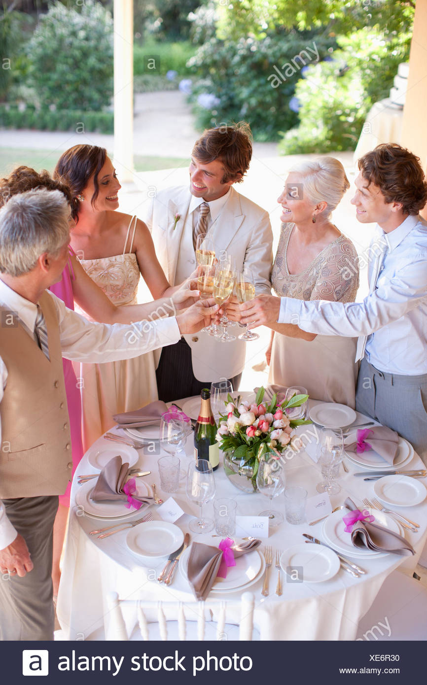 Guests toasting champagne wedding reception - Stock Image