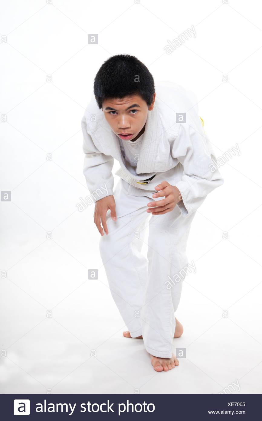 Young Asian Teen Boy Doing Jiu Jitsu Martial Arts
