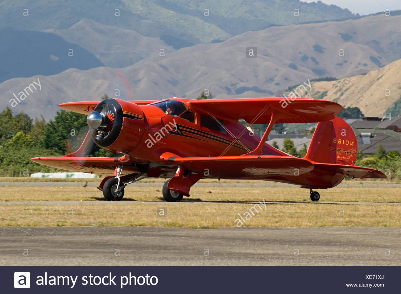 Beechcraft D-17S Staggerwing at Paraparaumu - Stock Image