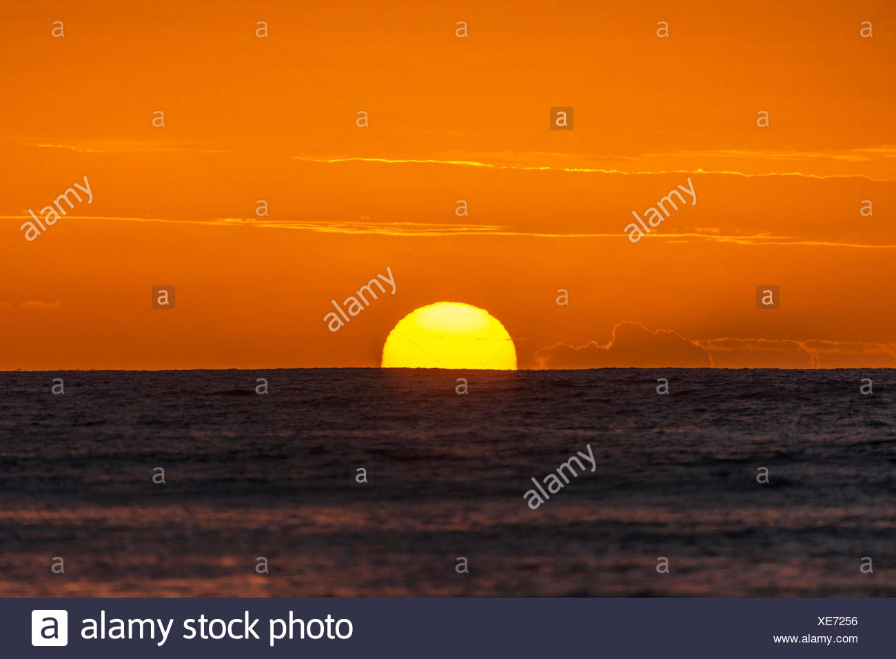 Sunset at Ocean, Jardines de la Reina, Cuba - Stock Image