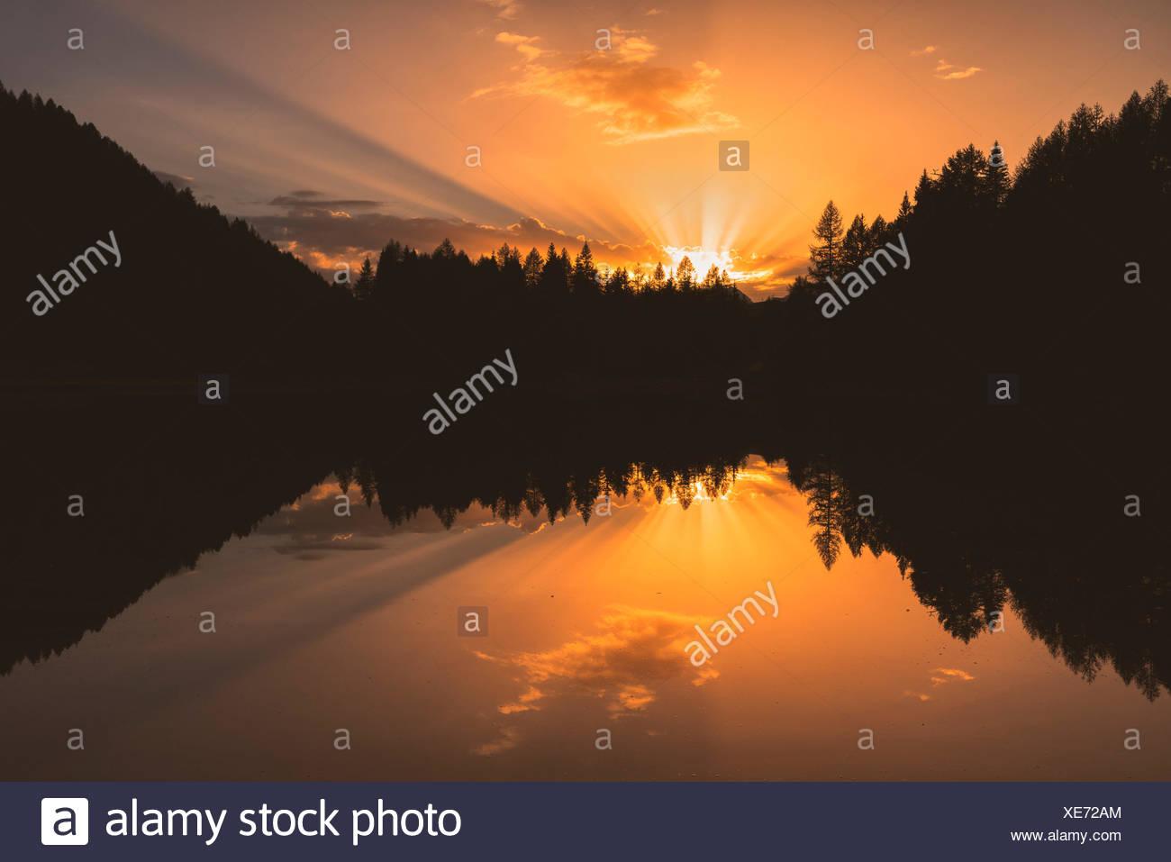 Europe, Italy, Trentino Alto Adige, Moena, Dolomites, the alpine lake of San Pellegrino. Stock Photo