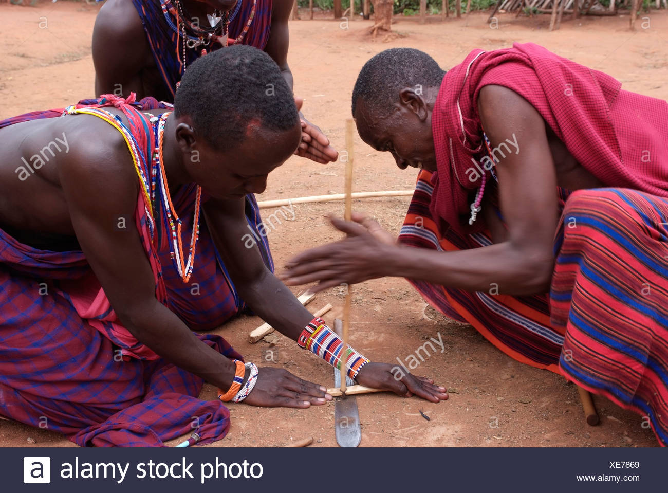 Massai ignite a fire in a traditional manner, Kanya, Africa - Stock Image