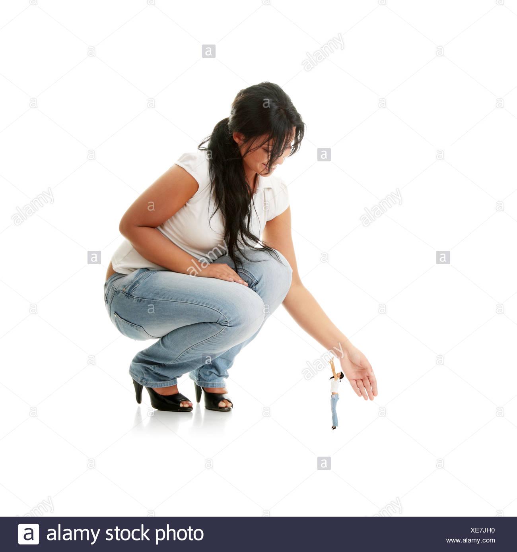 woman upwards women hand hands reach beautiful beauteously nice isolated model Stock Photo