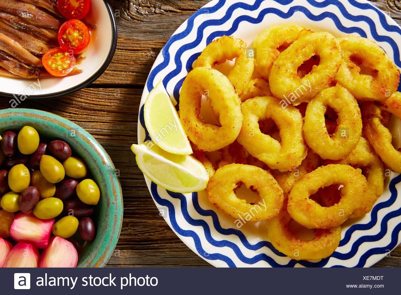 Tapas spanish seafood fried calamari spain. - Stock Image