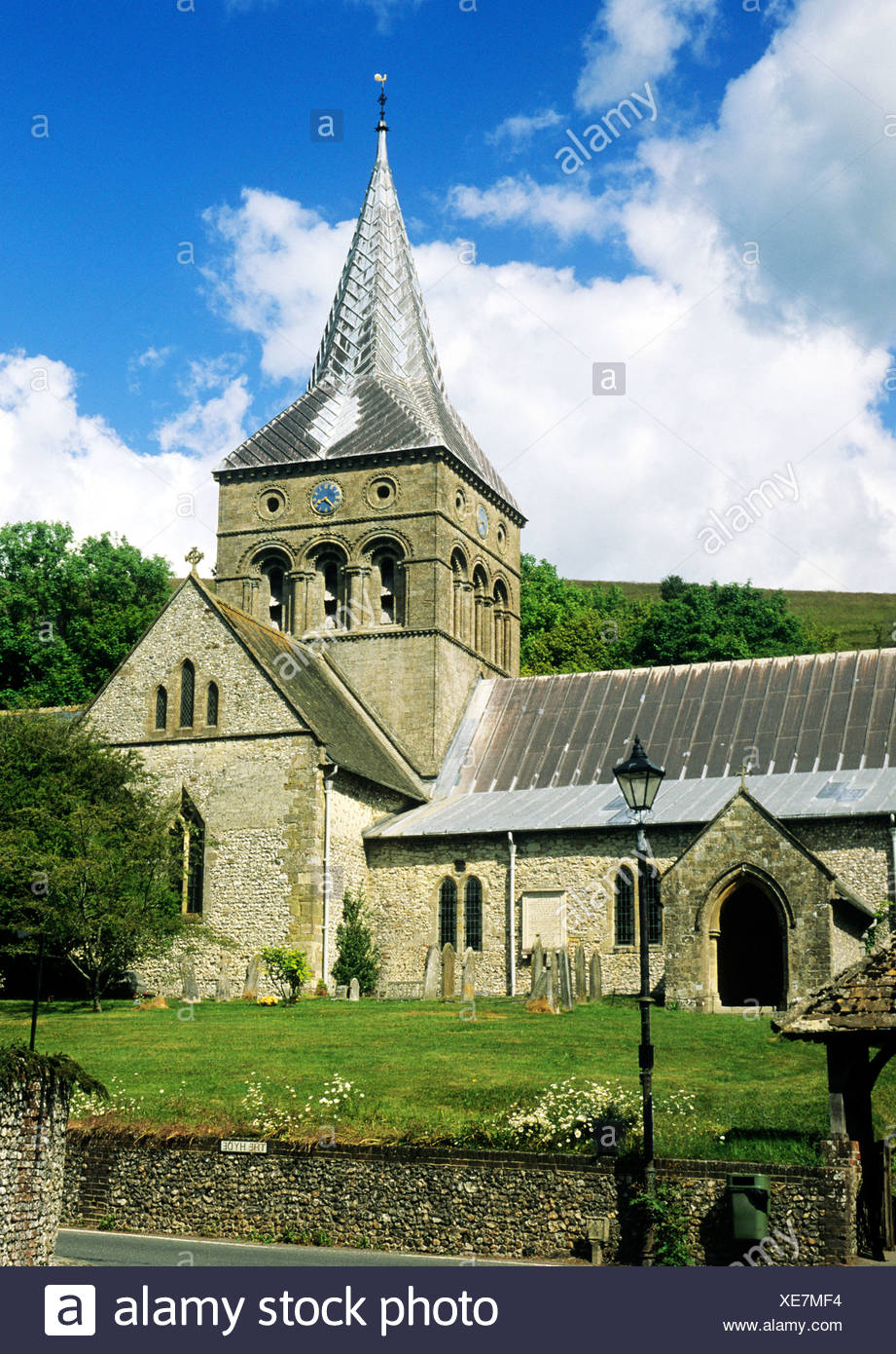 East Meon, All Saints Church, Hampshire England UK English churches Meon Valley central Norman tower towers 12th century - Stock Image