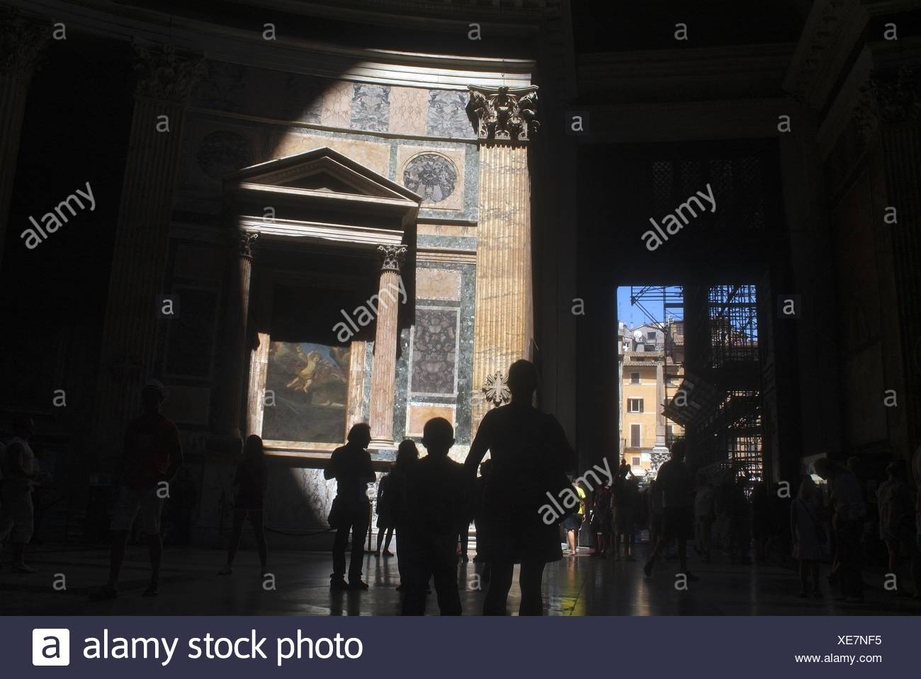 Beam of light in the Pantheon, Rome, Italy - Stock Image