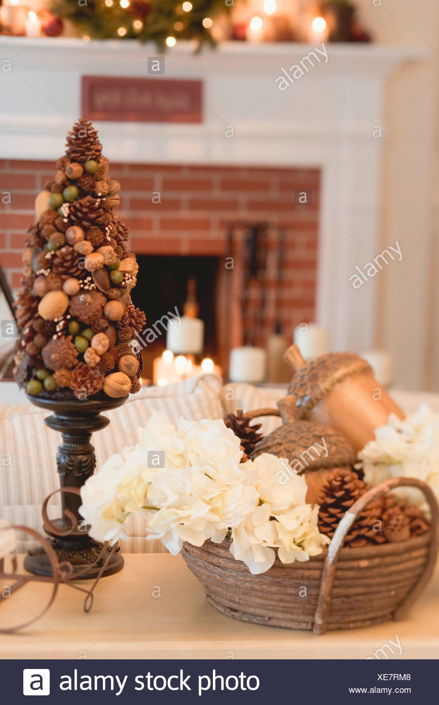 Christmas Decorations In Front Of Fireplace In Living Room Stock