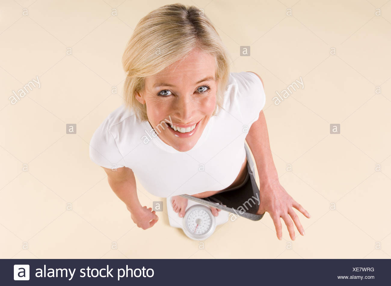 Portrait of a woman who has lost weight - Stock Image
