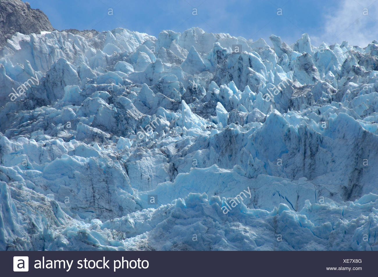 glacier Ventisquero Colgante ice scenery mountains Parque Nacional national park Queulat near Puyuhuapi As s - Stock Image