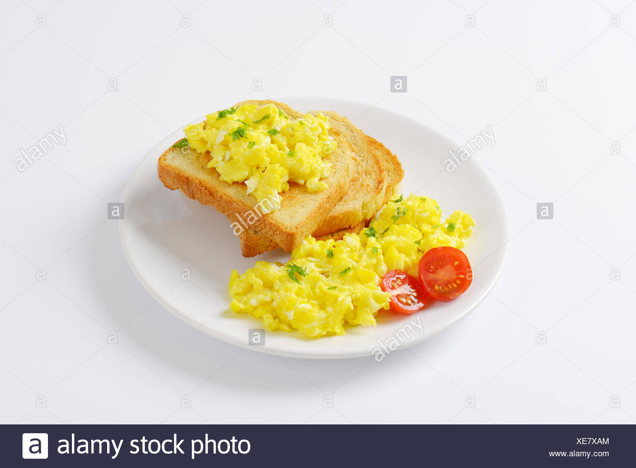 scrambled eggs with toast Stock Photo