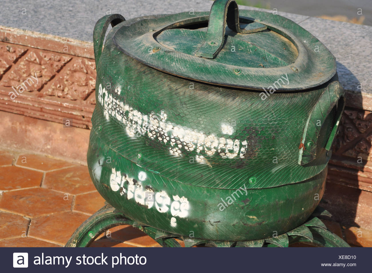 Phnom Penh (Cambodia): garbage bin made with recycled tyres - Stock Image