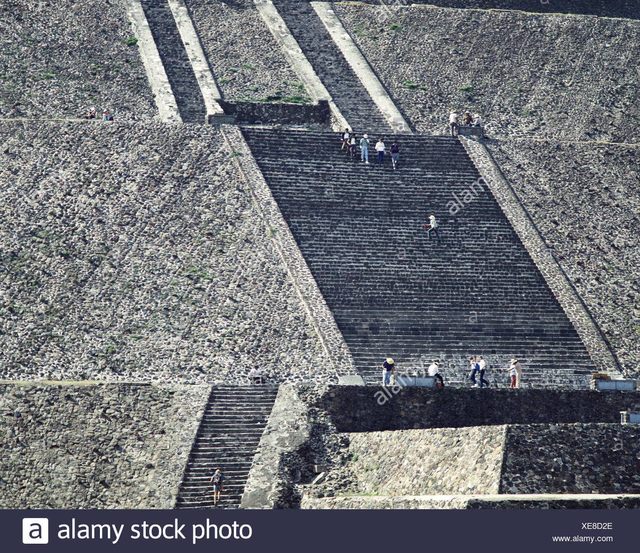 Aztecs ruins culture Mexico Central America Latin America persons suns pyramid Teotihuacan stair - Stock Image